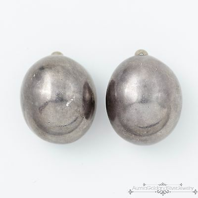 Vintage Estate Designer Sterling Silver Taxco Mexican Repousse Domed Earrings!