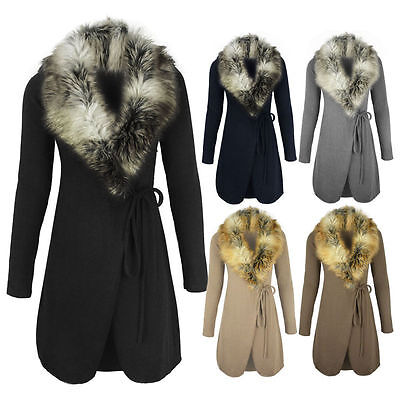 WOMENS Faux FUR COLLAR CARDIGAN JACKET KNITTED SWEATER COAT WRAP AROUND CAPE