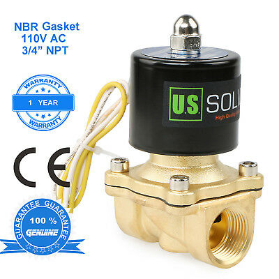 "U. S. Solid 3/4"" Brass Electric Solenoid Valve 110V AC N.C. Semi-direct NBR"