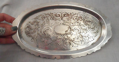 Vintage Antique Chiselled Oval TRAY F.S Silver On Copper Scalloped Edge, Stamped