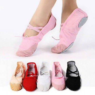 Child Adult Canvas Ballet Dance Shoes Slippers Pointe Dance Gymnastics Deluxe
