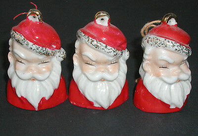 Vintage Santa Claus Bell Christmas Ornaments Set of 3 Made in Japan