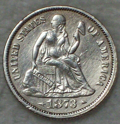 1873 Seated Liberty DIME Authentic SILVER XF/AU Detailing RARE US Coin 10c