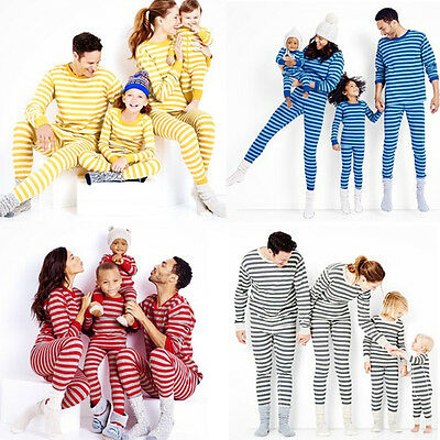 Xmas Red Grey Blue Family Matching Pajamas Set  Adult Kid Sleepwear Nightwear