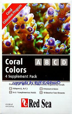 Red Sea  Coral Colors A B C D  4 x 100ml Spurenelemente für Meerwasser 54,98€/L
