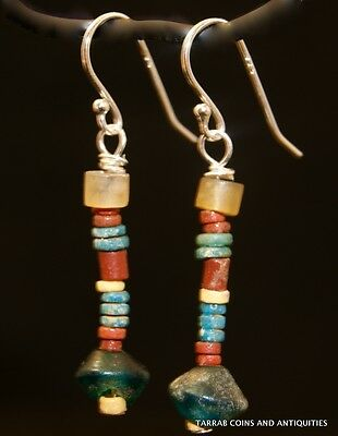 ANCIENT ROMAN - EGYPTIAN STONE BEAD EARRINGS -  300 B.C - 100 A.D. Charming !!
