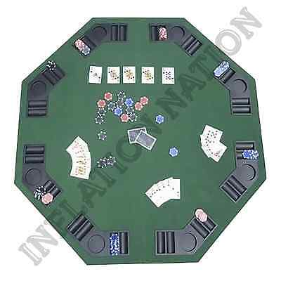 "48"" Folding Poker Blackjack Octagon Table Top With Cup Holders Casino 8 Players"