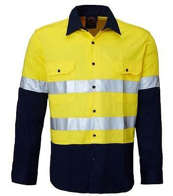 Size 5-6 Ritemate Kids Hi Vis Shirt Yellow/navy Cotton Reflective Tape Rm4050R