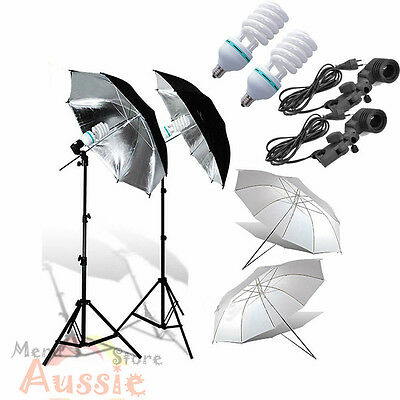 1350W Photo Studio Soft Umbrella Continuous Lighting Reflector Light Stand Kit