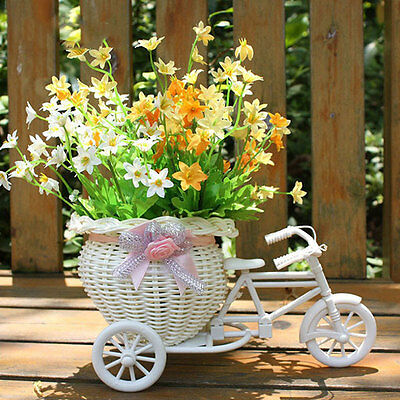 Plastic White Tricycle Bike Design Flower Basket Container Weddding Party Decor