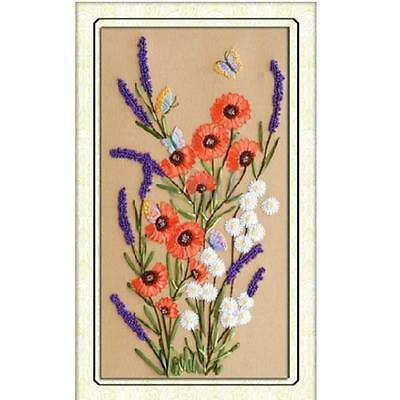 Ribbon Embroidery Blooming Wildflowers Cross Stitch Needlework Kit DIY Decor