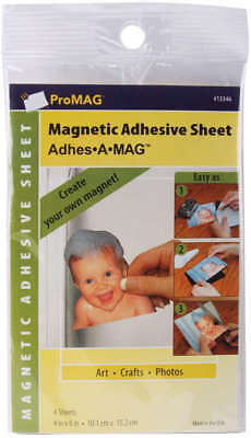 "ProMag Adhesive Magnetic Sheets 4""X6"" 4/Pkg 13346"