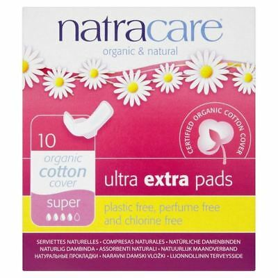 Natracare Organic Cotton Ultra Extra Super Pads with Wings 10 per pack