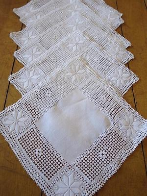 Set of 6 Antique Lefkra Hand Embroidered Linen Mats Doilies