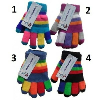 Boys Girls Kids Magic Multi Colour Stripe Gloves with Insulated Lining