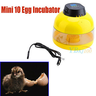 UK Plug Digital Mini 10 Egg Incubator Poultry Hatcher Chick Chicken Farm Duck GB
