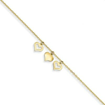 14k Yellow Gold 3 Hearts W/1 Inch Extension Anklet JANK233-10