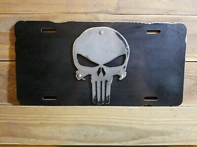 Punisher Car Tag  With Ruff Edge Mancave Shop Garage Plasma 3D Ford Chevy Dodge