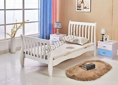 FoxHunter 3ft Single Wooden Sleigh Bed Frame Pine Bedroom Furniture White WSB01