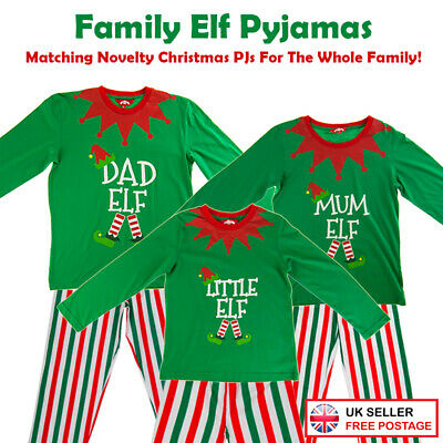 Christmas Green Elf Pyjamas Matching Family PJs Mum/Dad/Little Elf Fancy Dress
