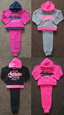 Girls Kids Winter Warm 2 Piece Hooded Top & Joggers Sports Jog Suits Tracksuits