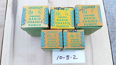 """Greenlee 731 Radio Chasis Punch Square 1/2""""-1"""" Lot of 5"""