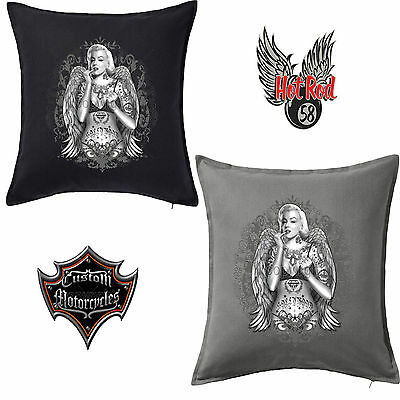 Marilyn Monroe Tattoo Wings Finger Cotton Throw Pillow Case Cushion Cover 132
