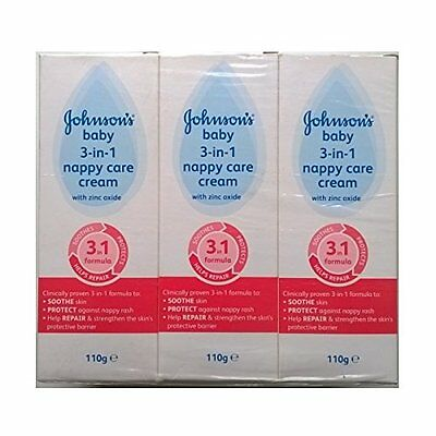 Johnsons Baby 3 in 1 Nappy Care Cream with Zinc Oxide - 110gm