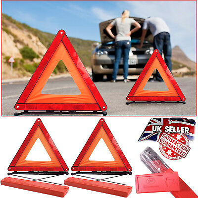 2x Car Warning Triangle Emergency Road Sign Breakdown Foldable Reflective Hazard
