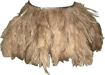 NEW Ladies Nude Pink Real Feathers Tie Up Over Skirt Or Trousers One Size (TR.H)