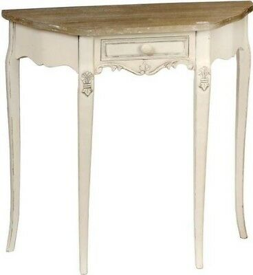 Hill Interiors Country Curved Hall Console Table & Drawer Limed Brown Cream Wood