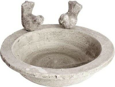Hill Interiors Large Bird Bath Feeder Bowl Tray Antique Stone | Garden Decor