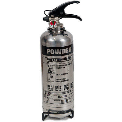 1kg Powder Polished Chrome Fire Extinguisher *FREE POSTAGE & FAST SHIPPING*