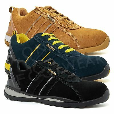 New Mens Suede Safety Shoes Trainers Boots Steel Toe Cap Ankle Work Hiker Size
