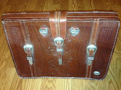 American West Hand Tooled Leather Breifcase Laptop File Bag Sections Used