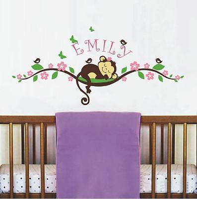 Monkey Wall Decal for Nursery Room Decor Personalized Name Decoration Wall Art
