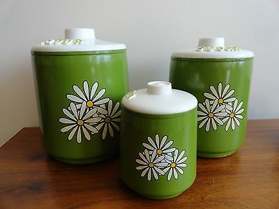 VINTAGE Kromex Metal Canister Set 3 Daisy Design Green and White Flour Sugar Tea
