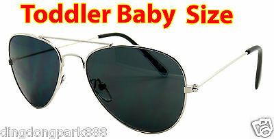 Kids Toddler Boys Girls Silver Aviator Pilot Classic Metal Sunglasses Shade