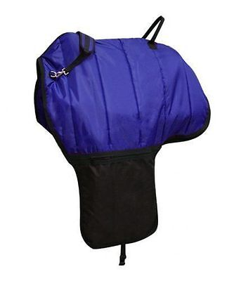 Deluxe Quilted Nylon Cordura Saddle Bag Carrier BLUE New Western Horse Tack