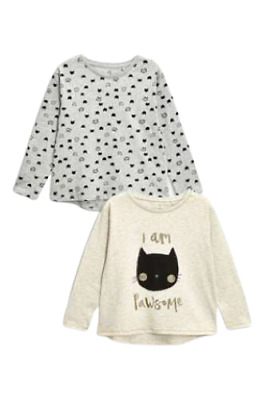 Next Top Girls Age 4 Cat Long Sleeve Two Pack Grey Oatmeal BNWT