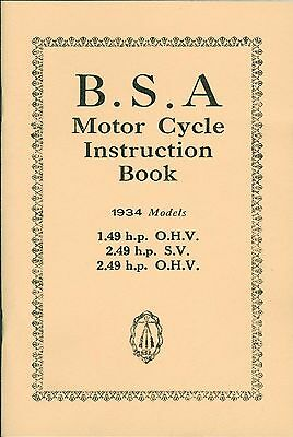 BSA Instruction Book 1934 Models 1.49 hp OHV 2.49 hp OHV 2.49 hp SV