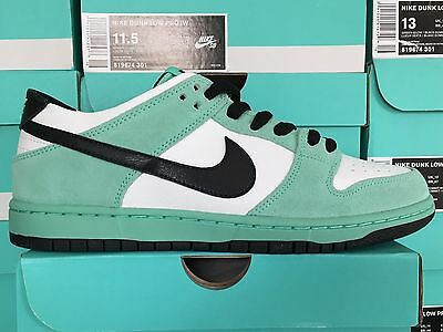 beb533af6afe Nike SB Dunk Low IW Sea Crystal Green Glow White Black 819674-301 Size 14