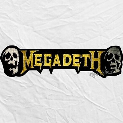Megadeth Word Logo with Skulls Embroidered Big Patch Dave Mustaine Heavy Metal