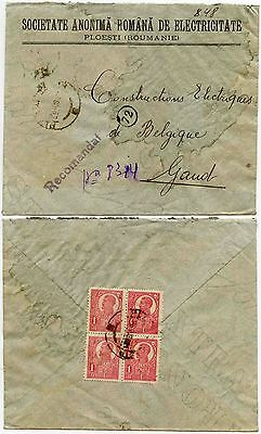 Romania Block Franking 1921 Registered Societate Electricitate Envelope