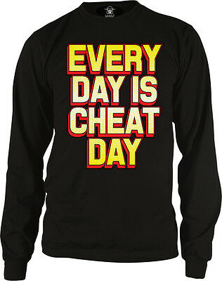 Every Day Is Cheat Day Diet Gym Eat Food Workout Lazy Off Take Go Men's Thermal