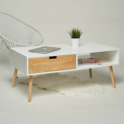 Chic Wooden Couch Table White - Vintage Retro Chic Coffee Table Side Table NEW