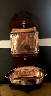 Antique French Copper Lavabo Wall Fountain Sink Basin Vintage Kitchen Downton
