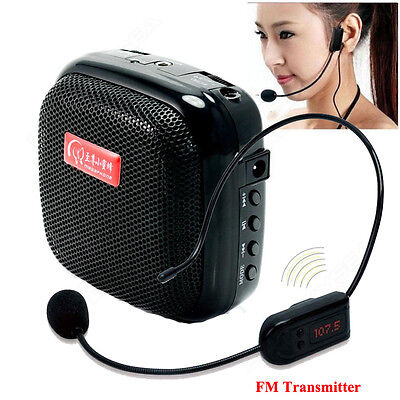 25W Waistband PA Voice Amplifier Booster With FM Wireless Microphone Fr Teaching