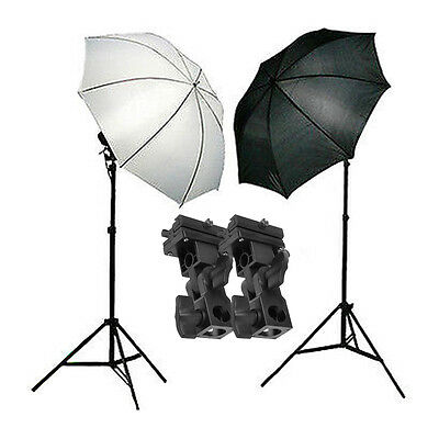 Photography Studio Flash Speedlite Umbrella Lighting Stand & 2pcs Bracket B Kit