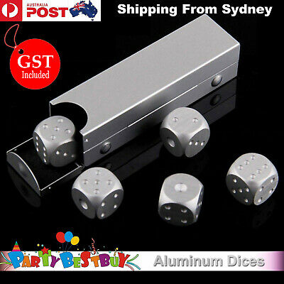 5pcs Aluminum Metal Dice Alloy Case Set Gift Casino Party Home Play Poker Toy